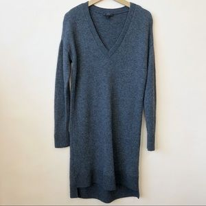 J Crew V-Neck WoolBlend Gray Sweater Dress Size M